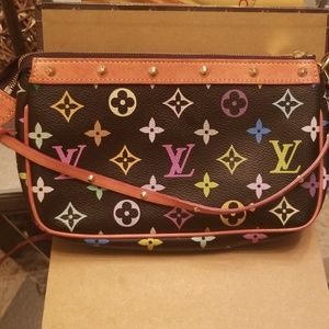 Authentic Louis Vuitton multicolor monogr pochette